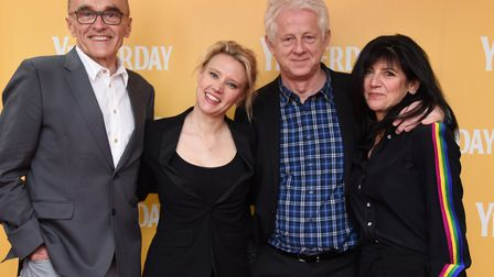 Director Danny Boyle, left, with writer Richard Curtis and his wife Emma Freud, and actor Kate McKin