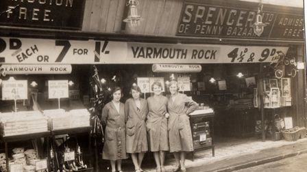"""Marks & Spencer's """"penny bazaar"""" in George Street, possibly in the 1920s. The assistants pictured we"""