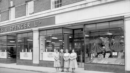 Marks & Spencer store assistants outside the Yarmouth town centre premises in 1962