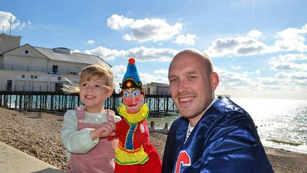Dan Hanton with his daugter Grace and Mr Punch. The 36-year-old wants to bring the puppet show back