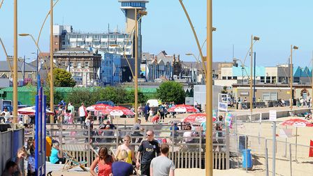 Great Yarmouth, the Promenade with Atlantis Tower in the background, June 2010. Picture: James Bass