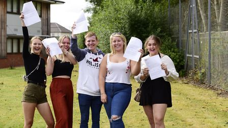 Rosemary James, Katy Jones, Jake Annison, Morvan Goff and Maisy Drew collect their A Level Results a