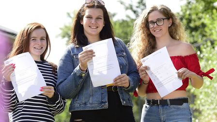 Rhianna Horne, Molly Hill and Olivia Brewen with their A Level Results at East Norfolk Sixth Form Co