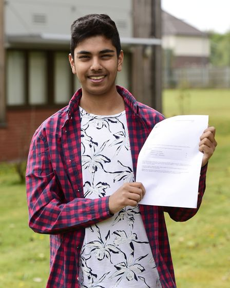 Sharfraz Choudhury, 18, collects his A Level Results from East Norfolk College. Picture: Julian Clax