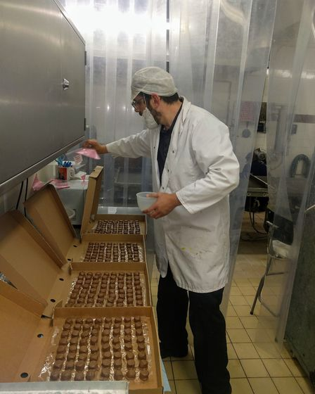 John Burnham, 43, makes the chocolate at Docwra's shop and factory on Regent Road in Great Yarmouth.