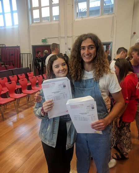 Maisie Irvine and Rory Alyward, both 16, after collecting their GCSE results at Ormiston Venture Aca