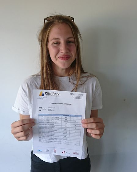 Lois Houlgate, a student at Cliff Park Ormiston Academy, with her GCSE results. Picture: Cliff Park