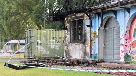 The damage to the Shrublands FC clubhouse, Great Yarmouth. Picture: Jamie Honeywood