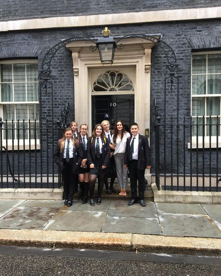 Schoolchildren from Caister Academy visited 10 Downing Street after taking part in a debating compet