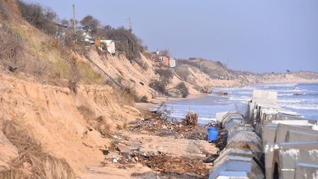 Coastal erosion along the Norfolk coast between Caister and Winterton.Looking towards Hemsby from Sc