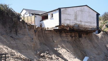 Clifftop homes at risk on the Hemsby Coastline. Picture: Denise Bradley