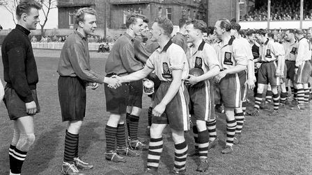 The handshake before the kick-off of a 1955 Yarmouth Town home fixture. Picture: Mercury Library