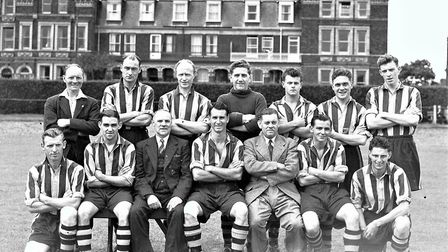 The 1951 Great Yarmouth squad and club officials at Wellesley Road.Picture: Mercury Library