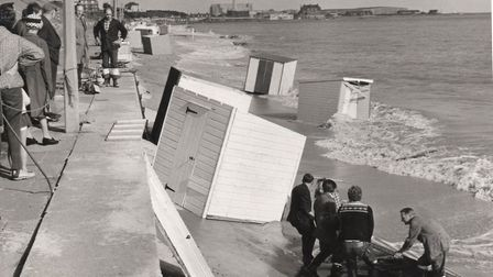 Victims of a 1969 storm, a half-century ago: beach huts at Gorleston in danger of being smashed by t