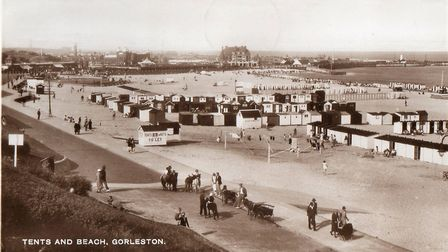 When beach huts and tents were prolific on Gorleston's beach, possibly just before or soon after the
