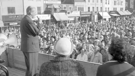 A packed Market Place listens to a General Election address in 1959.