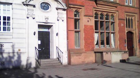 The entrance to Great Yarmouth's former telephone exchange on Hall Quay, built in 1936, with the scu