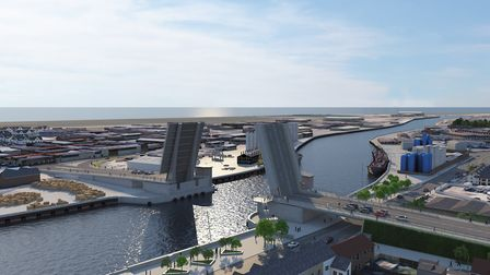 A new image of Great Yarmouth's proposed third river crossiing in the open position Picture: Norfolk
