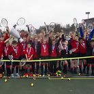 Students from Ormiston Venture Academy at the opening of the tennis facilityPicture: Run Communicati