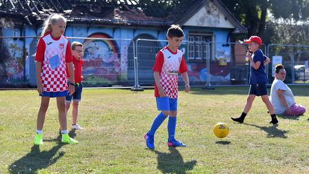 Players of all ages from Shrublands FC training at Southtown Common, Great Yarmouth. Picture: Jamie