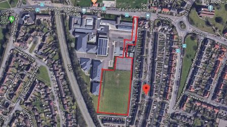 A rough map of plans for Gorleston FC's new football pitch at East Norfolk Sixth Form College. Pictu