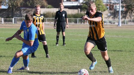 Great Yarmouth Town's man-of-the-match Tom Hunter drives forward Picture: STEVE WOOD