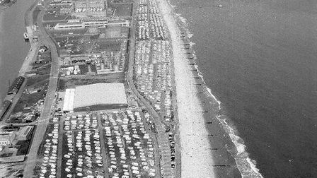 Packed and popular: the South Denes beach-edge caravan and camping site, probably in the 1960s or 19