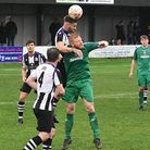 Jacob Short tries to win a header during Gorleston's narrow defeat at the hands of Long Melford at E