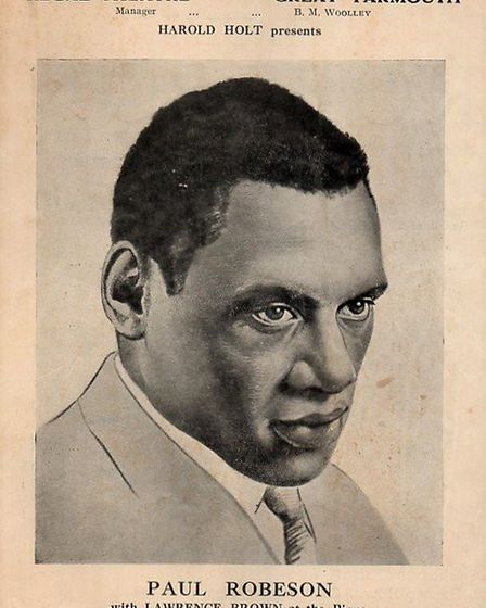 The programme for Paul Robeson's show at Great Yarmouth's Regal Theatre in 1935