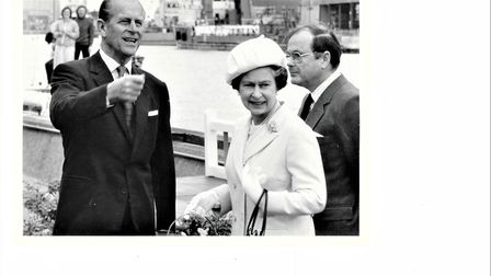 The Queen and the Duke of Edinburgh on Yarmouth quayside in 1985.
