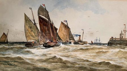 Sailing drifters – augmented by a new steam vessel – leave Yarmouth harbour for the herring grounds,