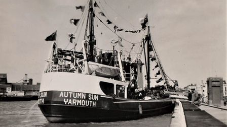 Ready to join the fishing fleet: the newly-built lugger-trawler Autumn Sun arrives in Yarmouth from