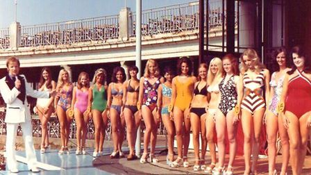 Beauty on parade: contestants in the Miss British Isles competition at the open-air Marina postwar.