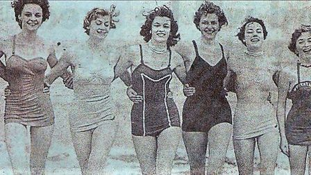 Seven shop assistants in Palmers department store in Great Yarmouth, plus a German friend, on the be