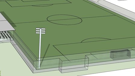 An artist's impression of Gorleston FC's new 800 capacity stadium planned at East Norfolk Sixth Form