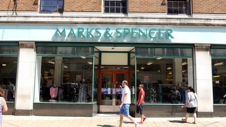 Marks and Spencer.Front of shop on the Market Place in Great Yarmouth town centre.July 2014.Picture:
