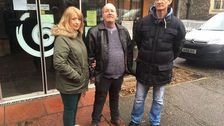 Angie and Ken Wright from Caister and Adrian Tester from Great Yarmouth face joining the dole queue