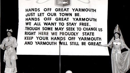 The words to the protest song against Great Yarmouth becoming part of Norfolk are displayed on the s