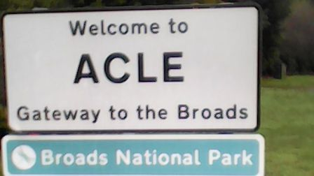 A sign outside Acle advertising the Broads National Park has been labelled 'misleading'. Picture: Su