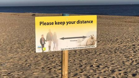 A sign on Winterton beach warning visitors to stay at least ten metres from the seals. Picture: Caro