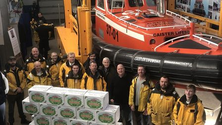 The lifeboat crew with the Bernard Matthews turkeys and Andrew Sherwood