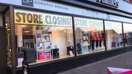'Store closing' signs have gone up in Palmers. The store has stood in the Market Place, Great Yarmou