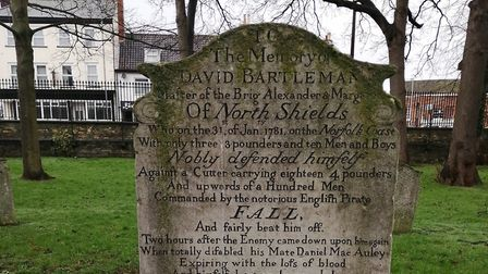 The tombstone dedicated to brave brigadeer David Bartleman, located in St Nicholas' Churchyard Great