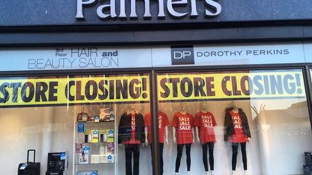 Store closing signs have appeared in the windows at Palmers department store in Great Yarmouth Pictu