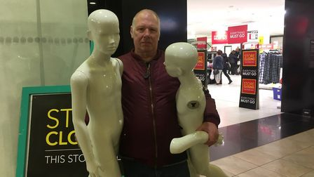 Mick Fecher of Caister with two of the mannequins he bought from Debenhams for his hobby art project