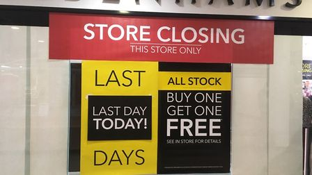 Debenhams in Great Yarmouth is closing its doors today, Wednesday, January 15 Picture: Liz Coates