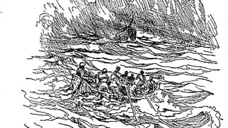 An illustration showing the shipwreck described in Robinson Crusoe's adventures, off the coast of Gr