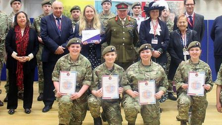 Lord Dannatt, former head of the army, inspected a new cadet force at East Norfolk Sixth Form Colleg