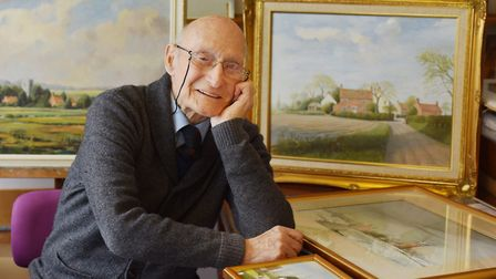 Artist Julian Macey, pictured aged 98, getting ready for his first solo exhibition. Picture: Nick Bu