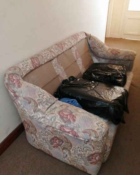 """The second sofa Mr Burley has had to throw out because of a what he claims is a """"flea infestation""""."""